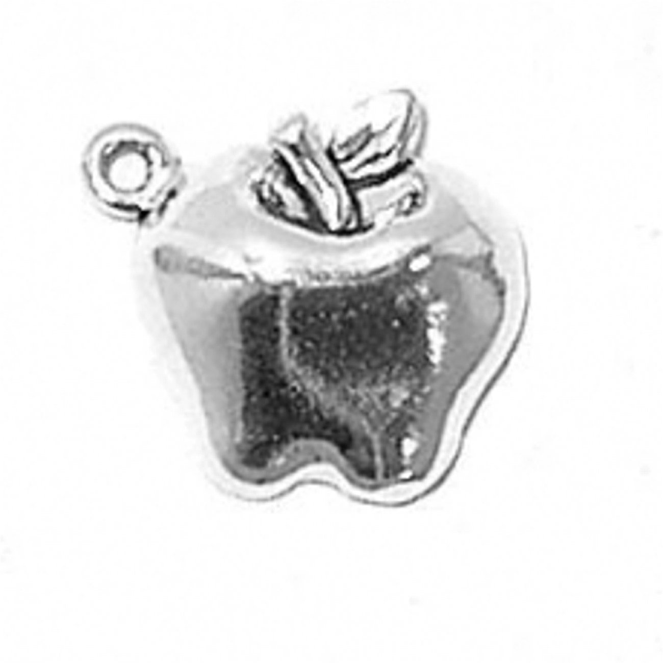 Sterling Silver Womens 1mm Box Chain LOVE On One Side Of Apple Fruit Pendant Necklace