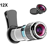 Cell Phone Camera Lens Kit, Vorida 12X Telephoto Lens Clip-on lenses iPhone Lens with Fisheye Lens for iphone X/8/8 Plus/7/7 Plus/6s/6s Plus/6/6 Plus /Ipad,Samsung Galaxy Note Android Most Smartphone