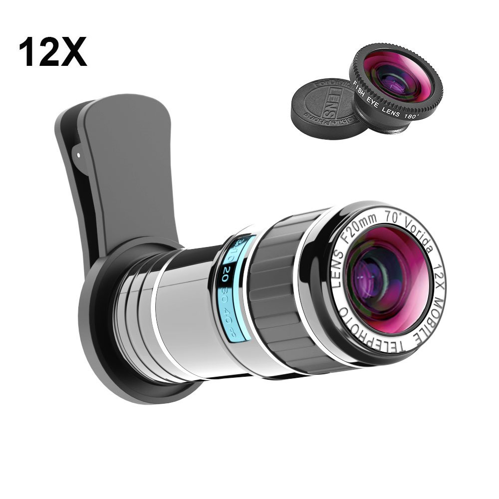 Cell Phone Camera Lens Kit, Vorida 12X Telephoto Lens Clip-on Lenses Phone Lens with Fisheye Lens for iPhone 8/8 Plus/7/7 Plus/6s/6s Plus/6/6 Plus/Ipad,Samsung Galaxy Note Android Most Smartphone by Vorida