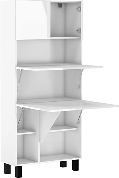 BIM Furniture Estantería de escritorio plegable HOMI, para el hogar, oficina, escritorio, mesa de ordenador, mesa plegable (blanco mate/blanco ...