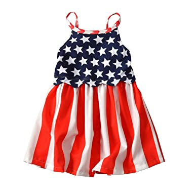 806fed9cc96 Amazon.com  Kehen Infant Baby Toddler Girl Summer Dress Strap Backless 4th  of July Star Sundress Independence Day Casual Dresses White  Clothing