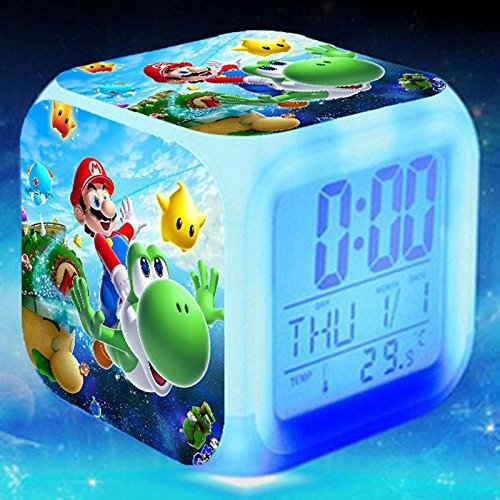 gital Multifunctional Alarm Clock with Glowing Led Lights and Super Mario Sticker, Good Gift for Your Kids, Comes with Bonuses Part 3 (20) ()