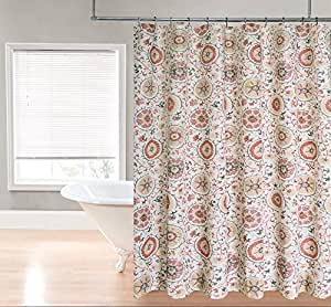Suzani Heavy Duty Fabric Shower Curtain By Goodgram Assorted Colors Red Home
