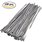 zip ties silver - 100 Pcs Stainless Steel Cable Ties, Bantoye 0.2 x 11.8 Inch Exhaust Wrap Coated Multi-Purpose Locking Cable Ties, Silvery