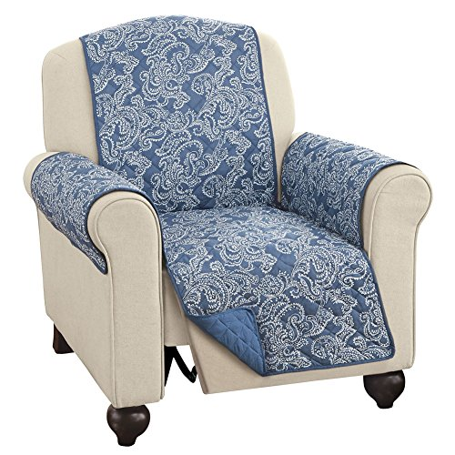 Quilted Paisley Reversible Furniture Protector Cover, Reverse to Solid Colors - Decorative Home Solutions, Blue, Recliner