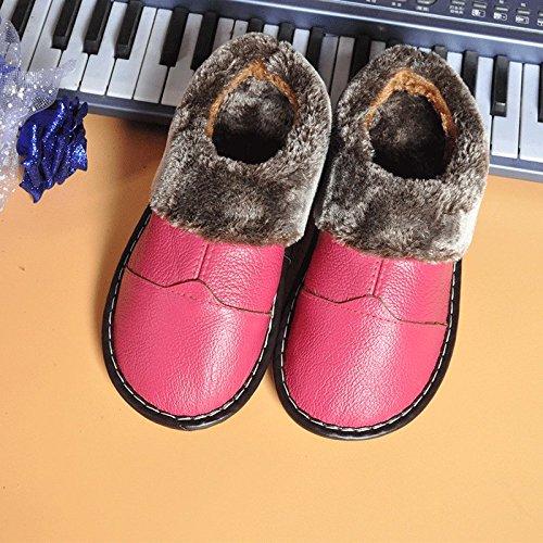 Habuji Home autunno e inverno pantofole con caldo cotone pantofole indoor anti-slittamento scarpe caldo, 39-40, rose red