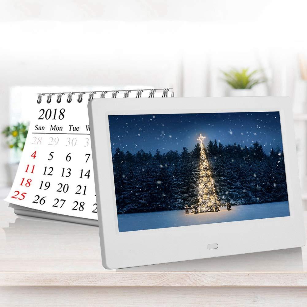 16: 9 Blanc-UE Album Photo /électronique Intelligent Multifonction Horloge//Calendrier//Disque T/él/écommande Cadre Photo num/érique HD 800 * 480 Tangxi Cadre Photo num/érique Grand /écran de 7 Pouces