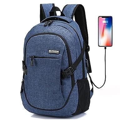 15 pouces Sac à dos pour ordinateur portable, pour randos voyages ou école, éger Toile Sac à dos école avec USB Port de Charge pour Hommes et Femmes, Bleu