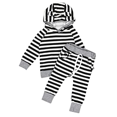 Iuhan Newborn Infant Baby Outfit Clothes Print Romper Tops+Long Pants Hat