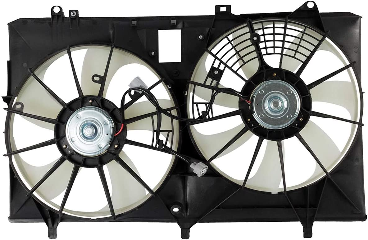 KARPAL Dual Radiator AC A/C Condenser Cooling Fan Assembly 16711-31440 Compatible With Toyota RX350 Lexus Sienna