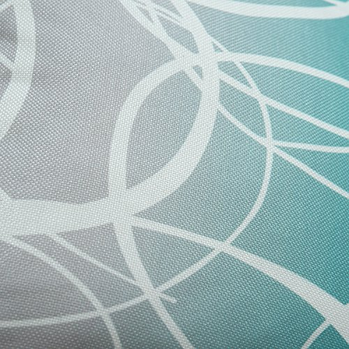 Pack of 2 CaliTime Soft Canvas Throw Pillow Covers Cases for Couch Sofa Home Decor, Modern Gradient Ombre Circles Rings Both Sides, 18 X 18 Inches, Gray/Teal