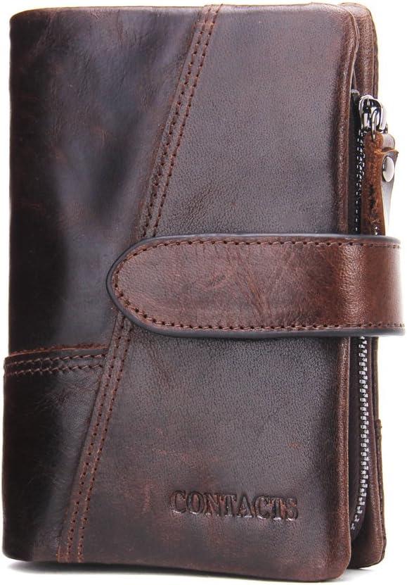 Marrone portafogli da uomo in vera pelle - 10440746 Contacts con scomparti per carte di credito Brown1