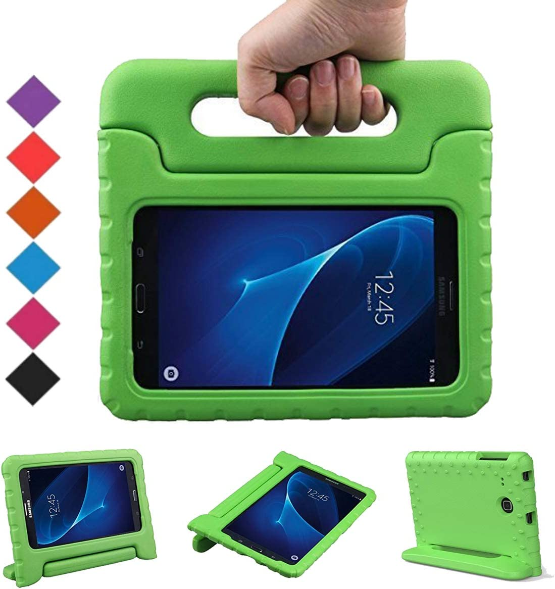 BMOUO Kids Case for Samsung Galaxy Tab E Lite 7.0 inch - ShockProof Case Light Weight Kids Case Super Protection Cover Handle Stand Case for Samsung Galaxy Tab E Lite 7-Inch Tablet - Green