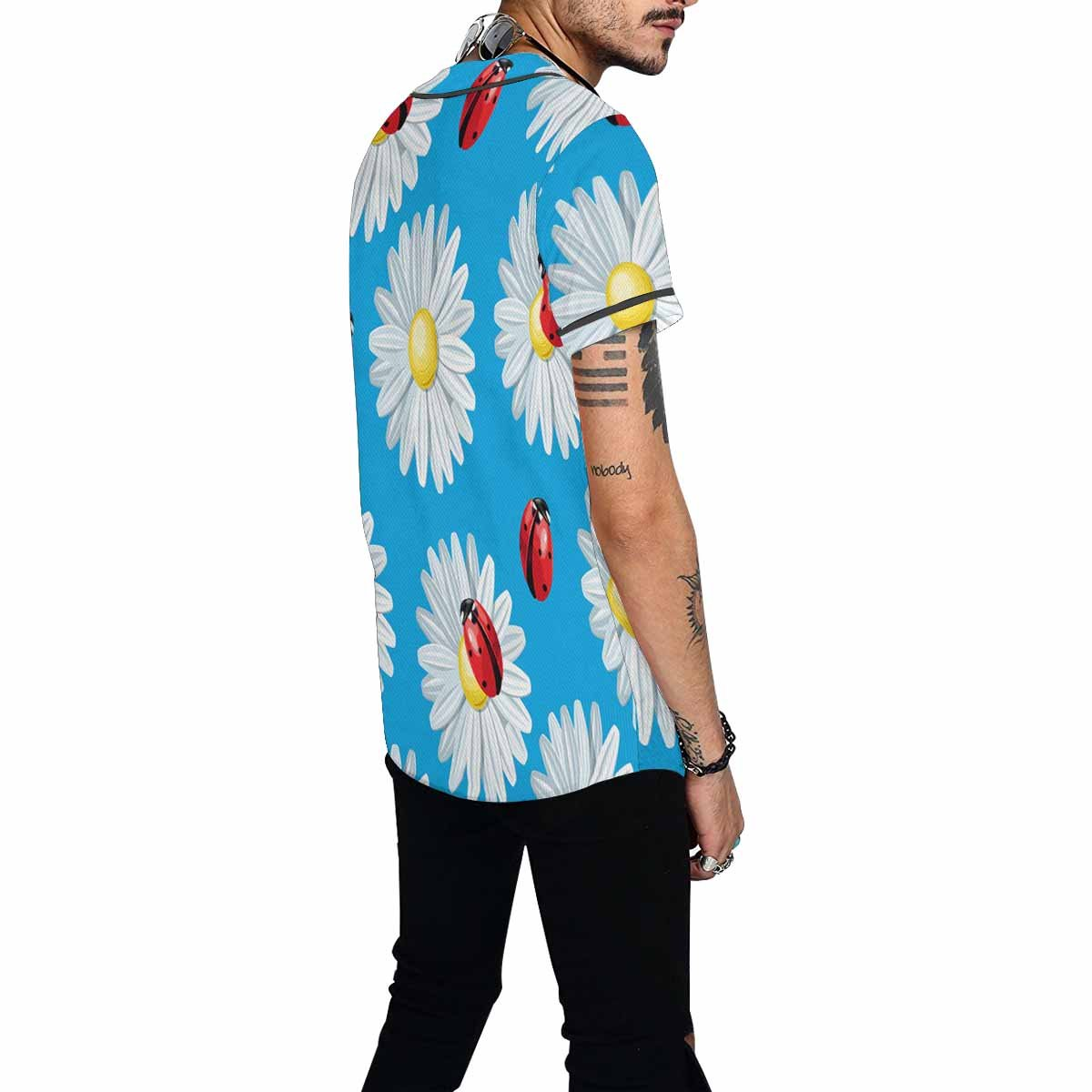 INTERESTPRINT Mens Button Down Baseball Jersey Colorful Ladybug and Camomile