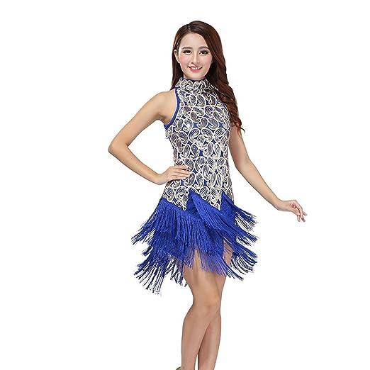 Moresave Mujer Salsa Latina Tassel lentejuelas vestido Ballroom Competencia Dancewear: Amazon.es: Deportes y aire libre