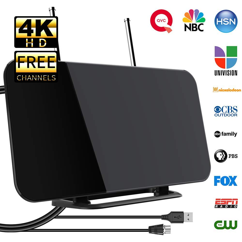 [2019 Newest] TV Antenna, Indoor Digital TV Aerial with Stand 50-80 Miles Range Freeview Amplified HD TV Aerial Support 4K 1080P HD/UHF/VHF/FM Freeview Channel for All Type Built-in Tuner Smart TV by Pandawill