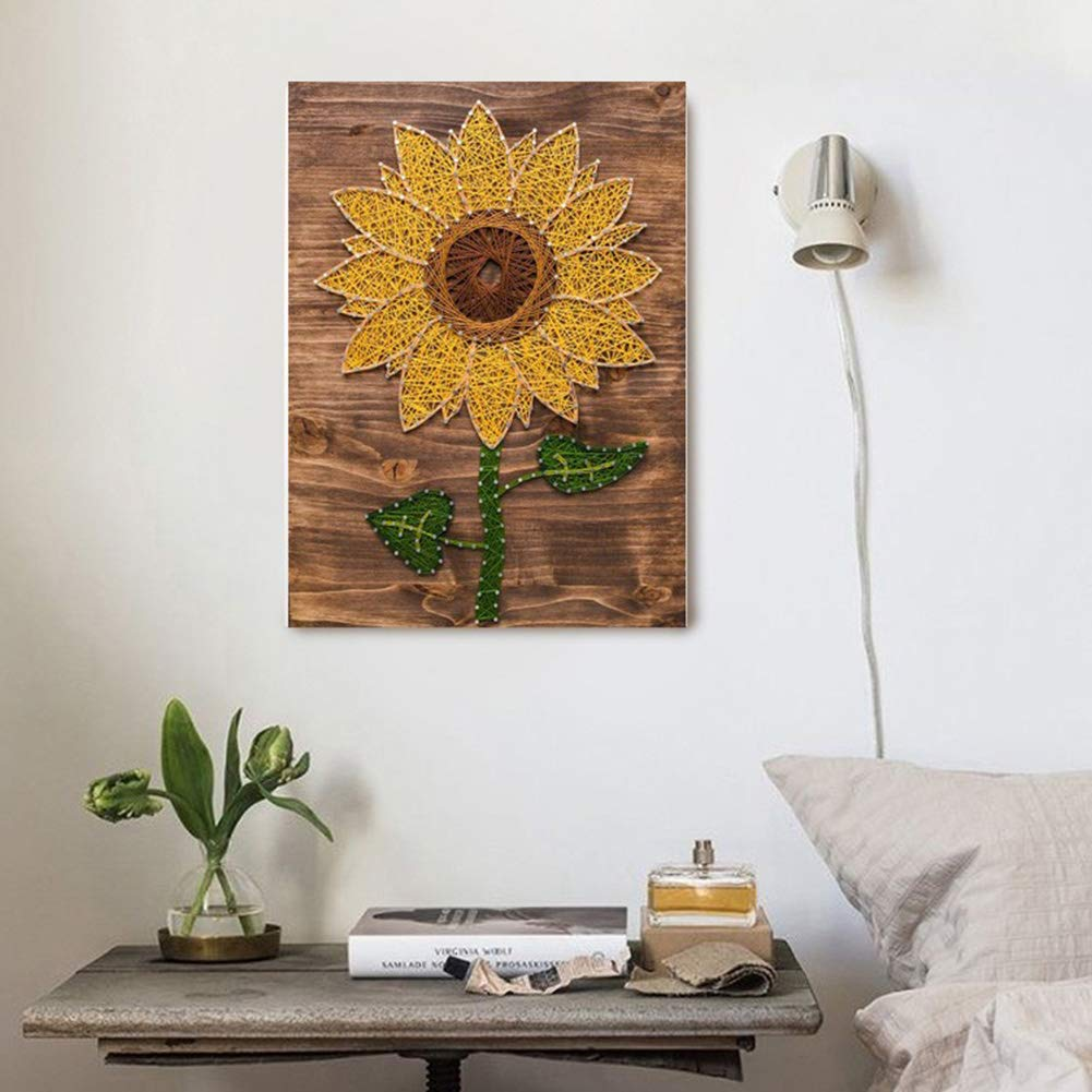 Home Decoration DIY Sunflower Three-Dimensional Thread String Silk Painting, Mural DIY Material Package Decompression Desktop Decoration Ornaments, Parent-Child Manual Interactive Game by Home Decoration (Image #2)
