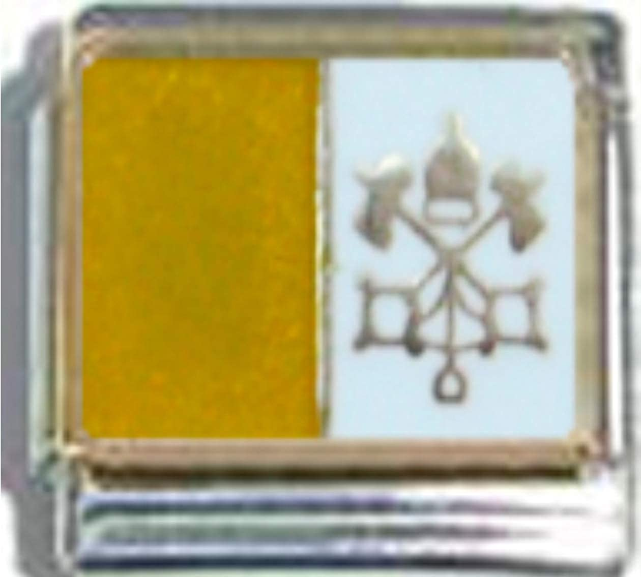 Stylysh Charms VATICAN CITY HOLY SEE FLAG Ceramic Italian 9mm Link PQ055