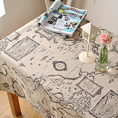 LINENLUX Map Letter Printed Tablecloth Macrame Lace Table Cover for Round Rectangular Oval Table Map Without Lace 23 x 23 in