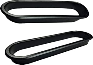 Large Plastic Oval Desk Grommet - 3 Piece - Black