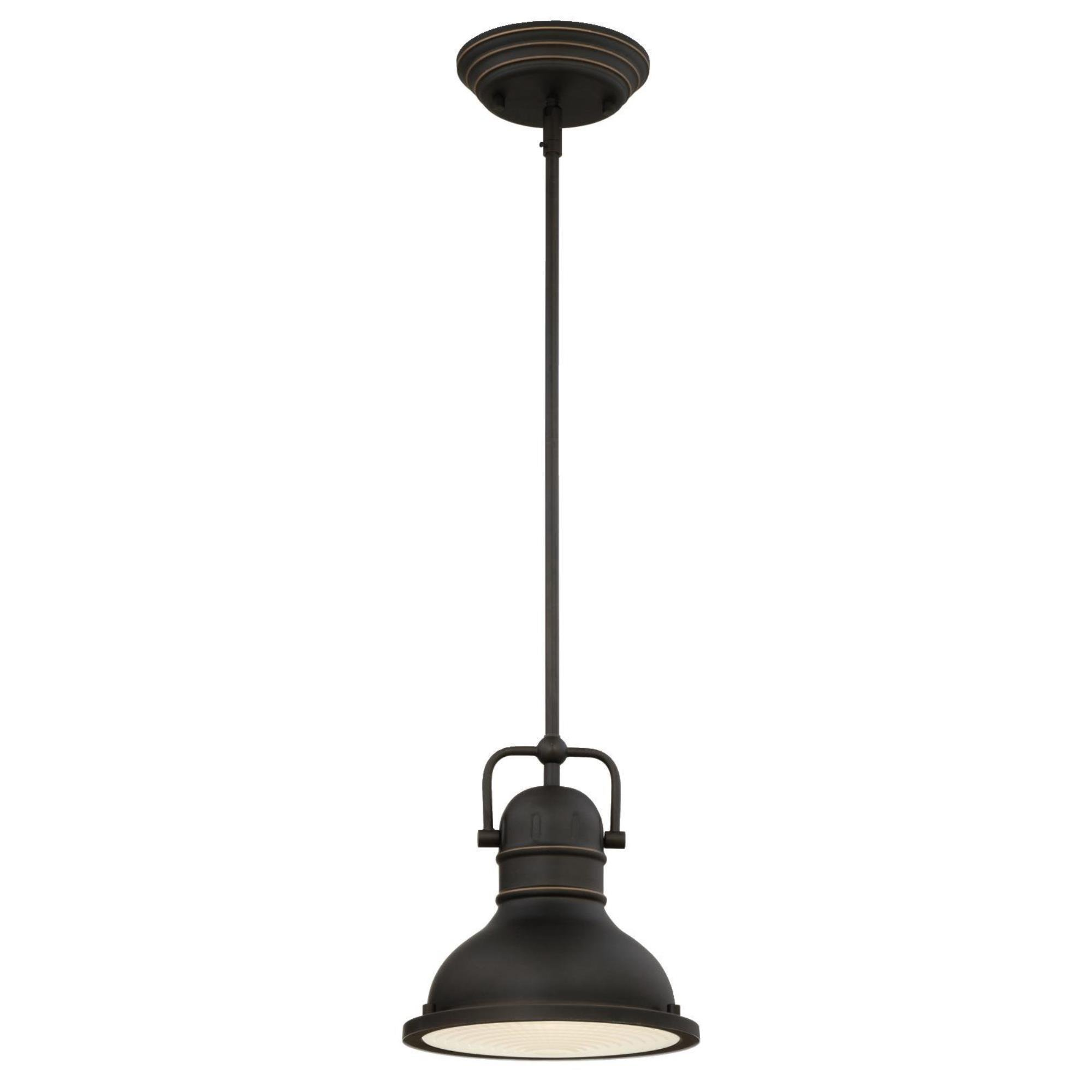 Westinghouse Lighting 63082A Boswell One-Light LED Indoor Mini Pendant, Oil Rubbed Bronze Finish with Highlights and Frosted Prismatic Lens