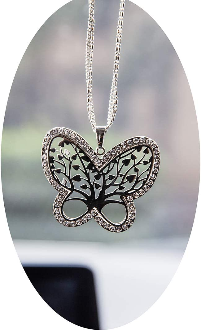 Boltz Tree of Life Butterfly Car Charm Rear View Mirror Accessories,Car Mirror Hanging Ornaments Decoration (Butterfly Family Tree Silver Color)