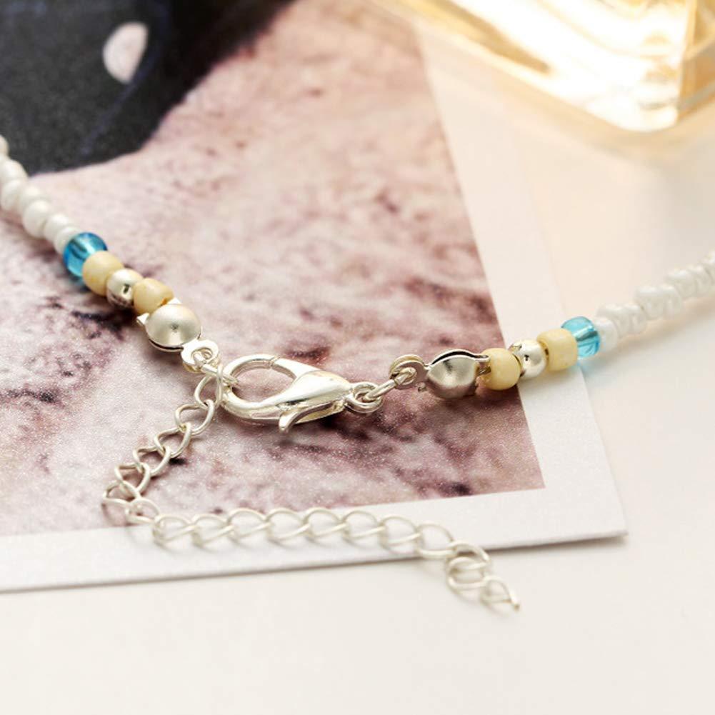 BESTEU Pulsera para el Tobillo del Grano de Cristal Cuentas Mini Blancas Azul Estrellas de mar en la Piedra y Pearl Beach Tobillo Mujer joyer/ía