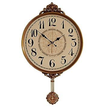 HENJH Wall Clock Reloj de Pared Hermoso Grande Precioso Bronce Dorado Reloj de Péndulo 70 X