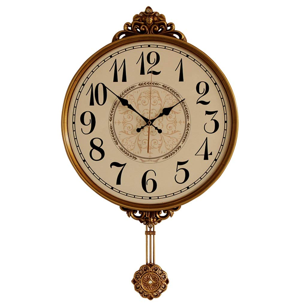 FJKAHGA Wall Clock Beautiful Large Gorgeous Bronze Gold Pendulum Clock 70 X 42 cm. for Dining Room, Living Room, Lounge, Hallway and Kitchen.