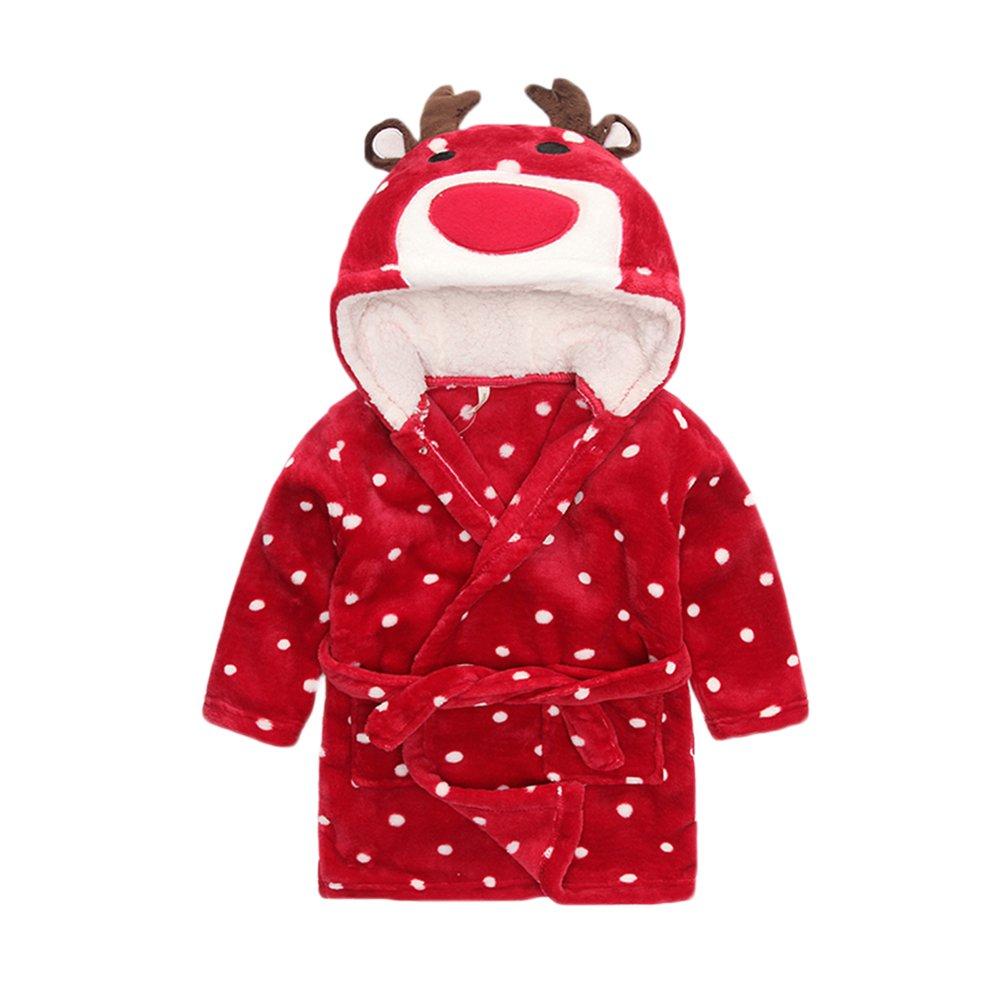 Ikerenwedding Baby Flannel Hooded Animal Bathrobe Halloween Pajamas Sleepwear