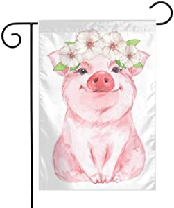 Txocouk Lovely Pink Pig Watercolor Welcome Garden Flag Double Sided,Decorative Garden Flag Yard Banner for Outdoor Decorations(12x18in)