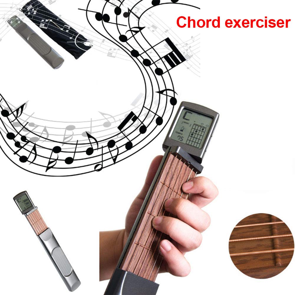 Digital Guitar Chord Trainer, Mini 6 Fret Portable Guitar Neck with Small Screen for Trainer Beginner