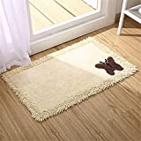 USIX Butterfly Cotton Chenille Machine-Washable Hotel-Spa Tub-Shower Bath Towel Mat Rectangle Rug, Kithen Rug, Bedroom Rug, Entrance Rug, Washroom Rug, Doormat, Beige, 18''x28''