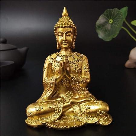 DIAOSUJIA Tailandia Estatua De Buda De Oro Casa Jardín Decoración Escultura Buda Meditación Hindú Fengshui Figuras Adornos Artesanales: Amazon.es: Hogar