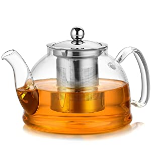 Artcome 1050 ml Glass Teapot with Stainless Steel Infuser & Lid, Stovetop Safe Tea Pot with Flat Bottom, Blooming & Loose Leaf Teapots, 35 Ounce