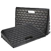 2 pcs Goma Rampa , Heavy Duty coche rampas para bordillos de caucho negro silla de ruedas rampa con antideslizante banda de rodadura para coche caravana barco remolque 485 x 300 x 95 mm