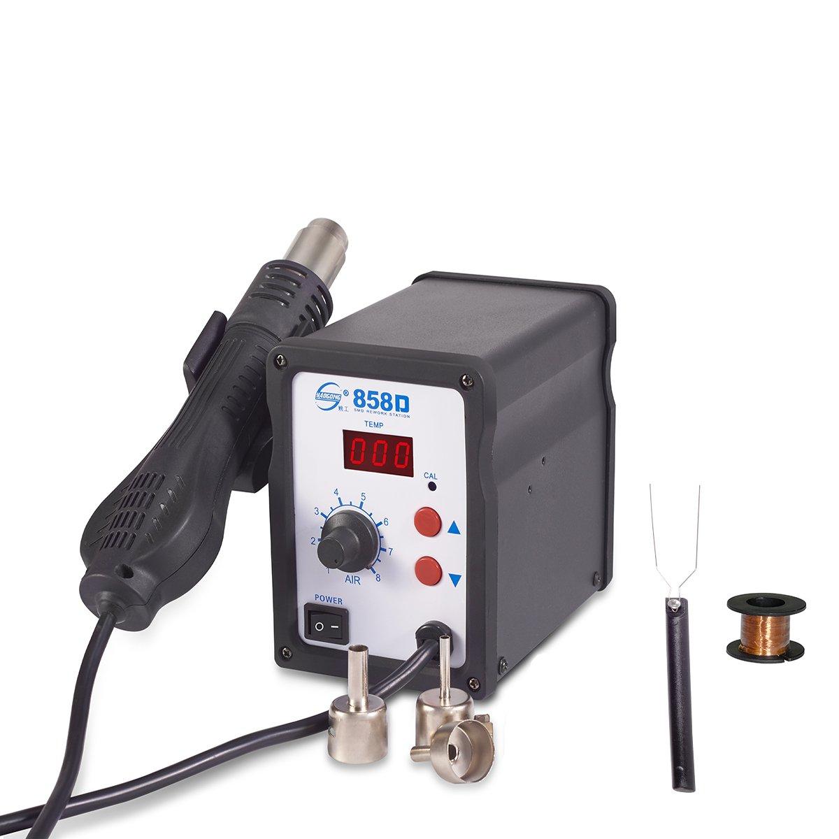 YAOGONG 858D SMD Hot Air Gun Rework Station Digital Solder 4Nozzles 110V 700W