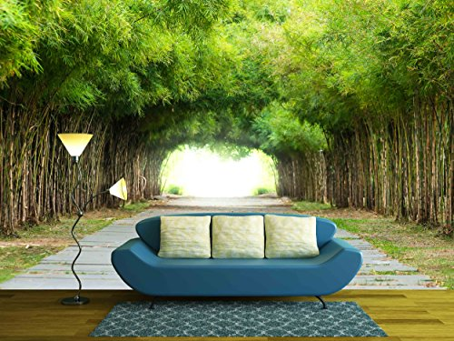 wall26 - Walkway flanked on both sides with a bamboo forest - Removable Wall Mural | Self-adhesive Large Wallpaper - 100x144 - Forest Bamboo