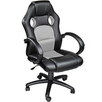 TecTake Silla de escritorio de oficina, Racing - disponible en diferentes colores (Gris)