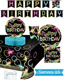 Glow Party Supplies - Plates, Cups, Napkins, Banner, Tablecloth and Centerpiece for 16 People - Neon Party Supplies and Decorations - Perfect For Birthday Party and all Fun Affairs!