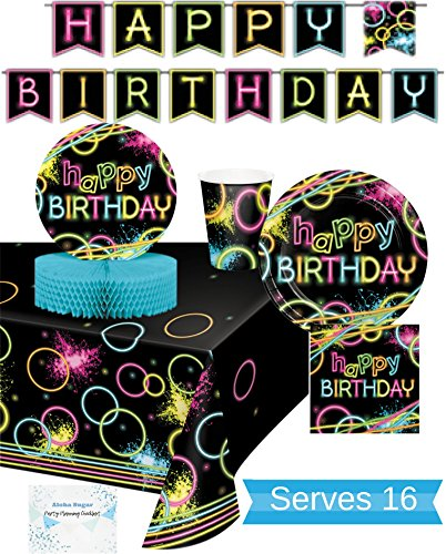 Glow Party Supplies - Plates, Cups, Napkins, Banner, Tablecloth and Centerpiece for 16 People - Neon Party Supplies and Decorations - Perfect For Birthday Party and all Fun Affairs!]()