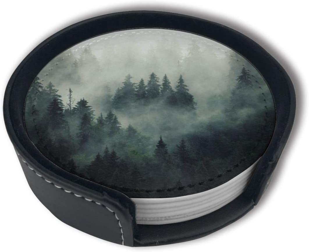 Green Tree Misty Landscape With Fir Forest In Hipster Vintage Retro Style Pine Alpine Leather Drink Coasters With Holder Avoid Furniture Being Scratched And Soiled Suitable For Kinds Of Cups Set Of 6
