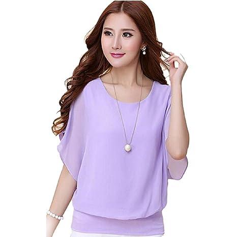 Malloom® verano casual Talla Extra delgado manga murciélago camisa mujer blusa Tops ropa (púrpura