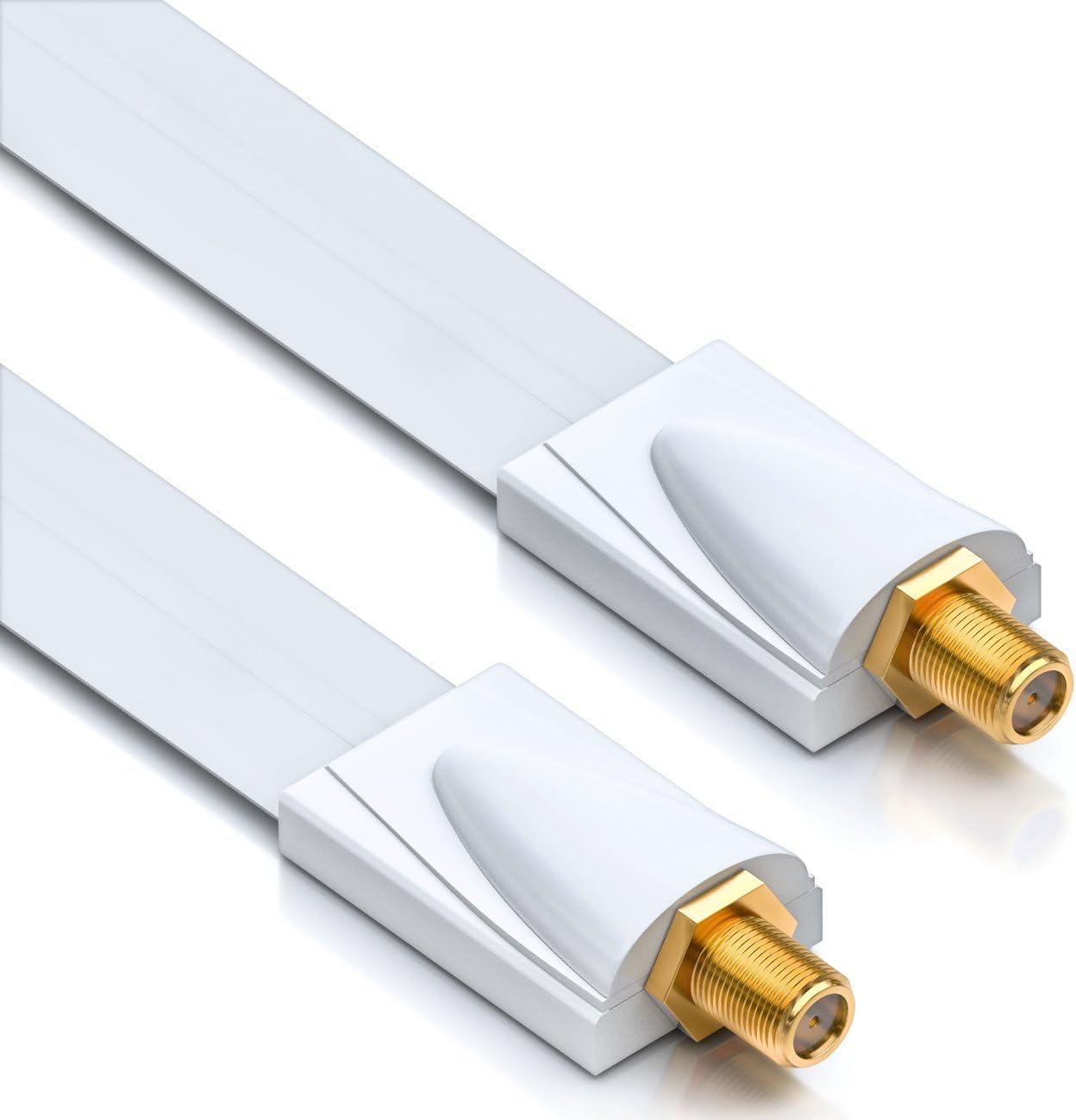 deleyCON 1x Entrada de la Ventana Cable Sat 17cm Flexible Longitud de 26cm Ventanas y Puertas de Acoplamiento Blindaje Extremadamente Plano - Blanco