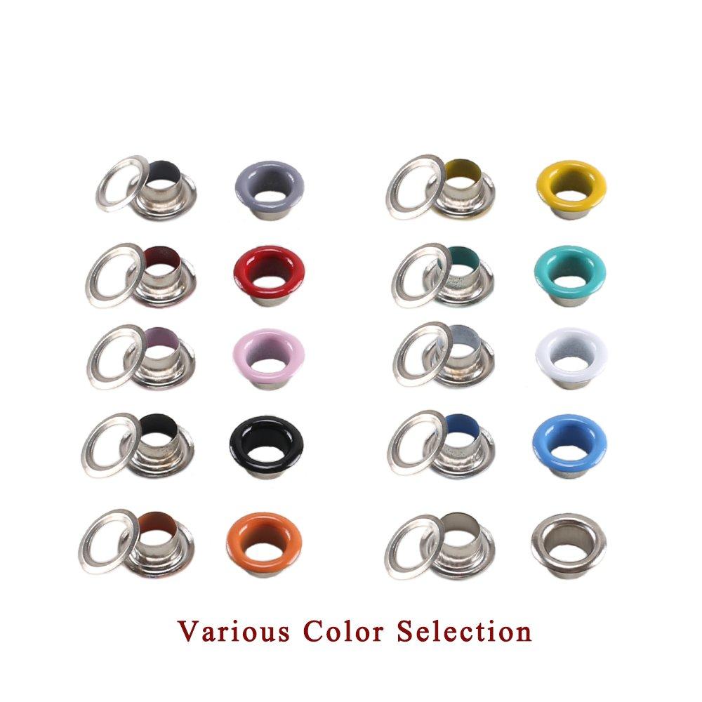 ETSAMOR Oeillets Kit 300 Pcs 5 mm Diam/ètre Trou Int/érieur avec 3 Outils /à Oeillets Color/é Oeillets en M/étal pour V/êtements Chaussures Sacs Divers Bricolage