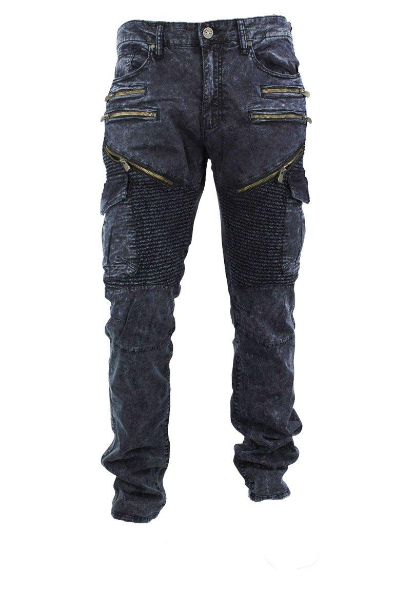 Jordan Craig Moto Zip Aaron Slim Straight Fit Men's Pants Navy Blue jm2153-navy (Size 34x32)