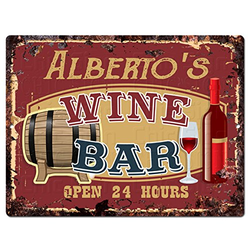 ALBERTO'S WINE BAR Tin Chic Sign Rustic Vintage style Retro Kitchen Bar Pub Coffee Shop Decor 9