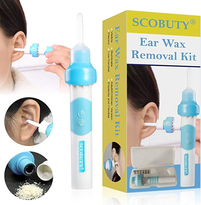 for Kids /& Family Ear Wax Remover Q Grips Ear Wax Cleaners Blue Electric Ear Cleaner Smart Ear Wax Removal Vacuum Tool with 2 Removable Soft Replaceable Tips