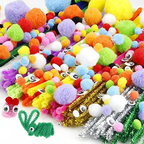 Pipe Cleaners Set-620pcs, Including 200 Pieces 12 Colors Pipe Cleaners, 260 Pieces 6 Size Pom Poms and 160 Pieces 4 Size Wiggle Googly Eyes for Craft DIY Art Supplies