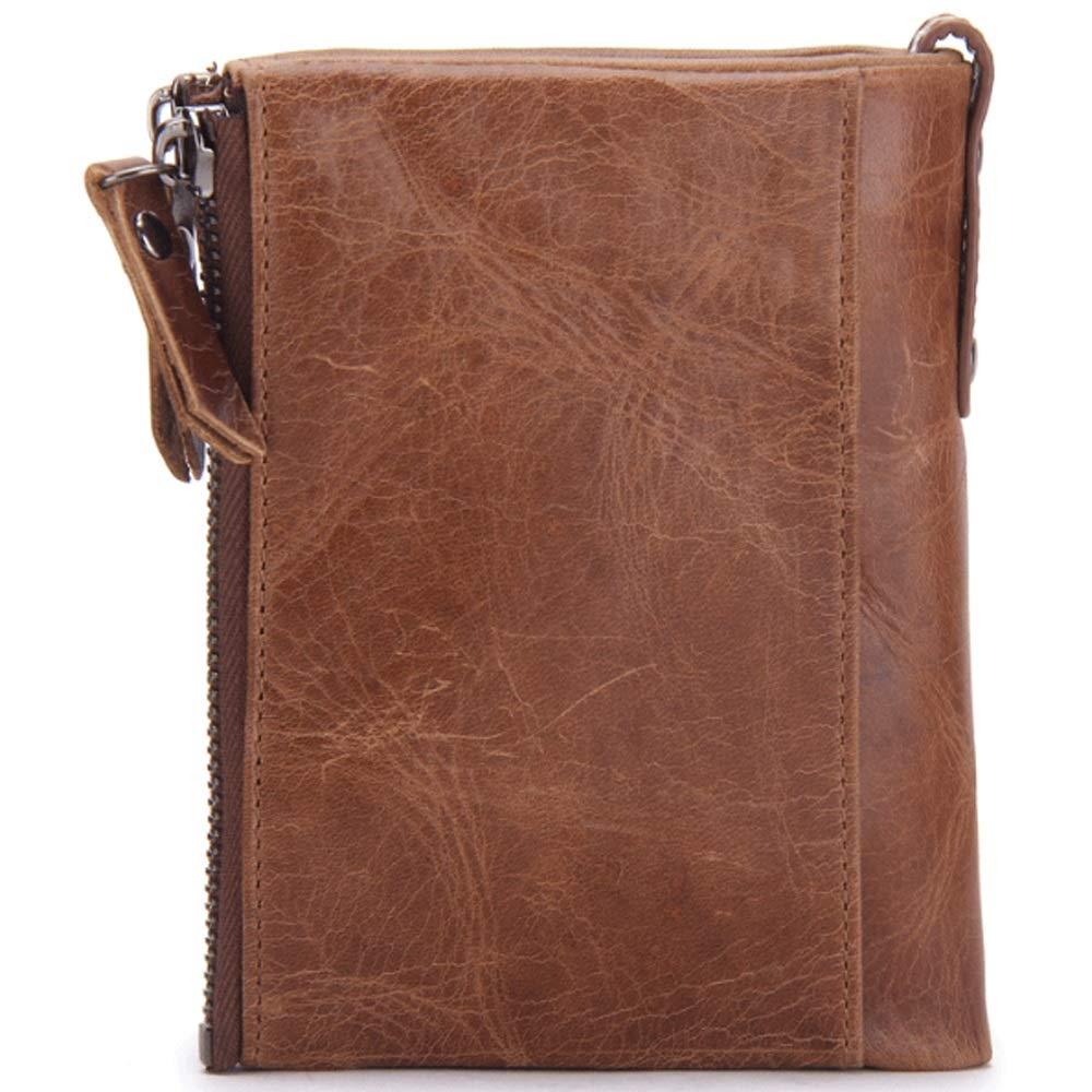 Size MUMUWU Mens Wallet Leather Short Fashion Casual Double Zipper Purse Mad Cowhide Card Bag Brown S